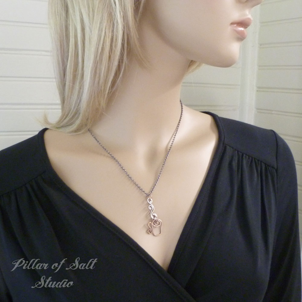 copper jewelry coffee cup necklace by Pillar of Salt Studio