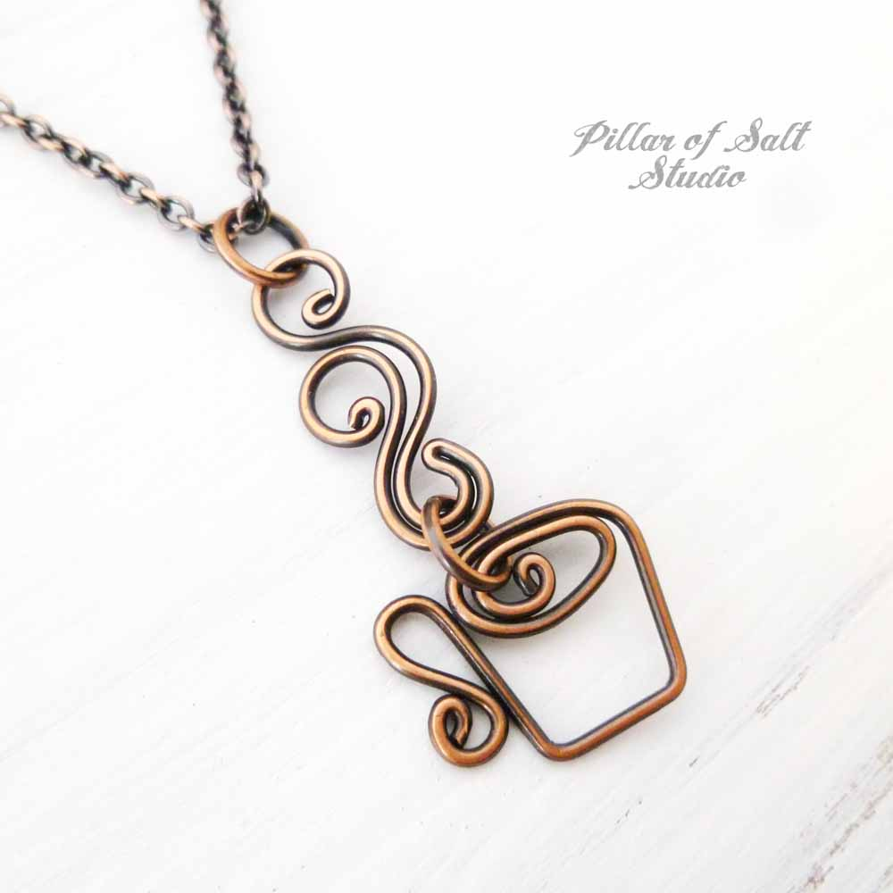 Coffee Mug Necklace - Steaming Cup wire wrapped copper necklace