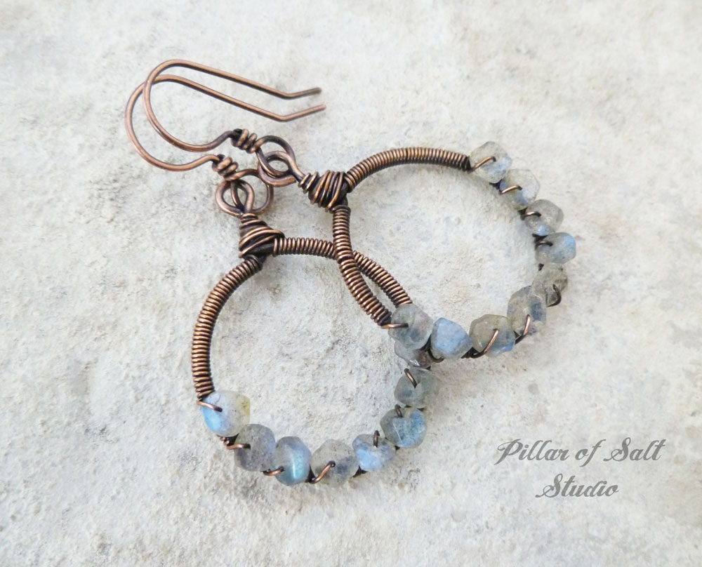 Labradorite copper hoop earrings wire wrapped jewelry by Pillar of Salt Studio