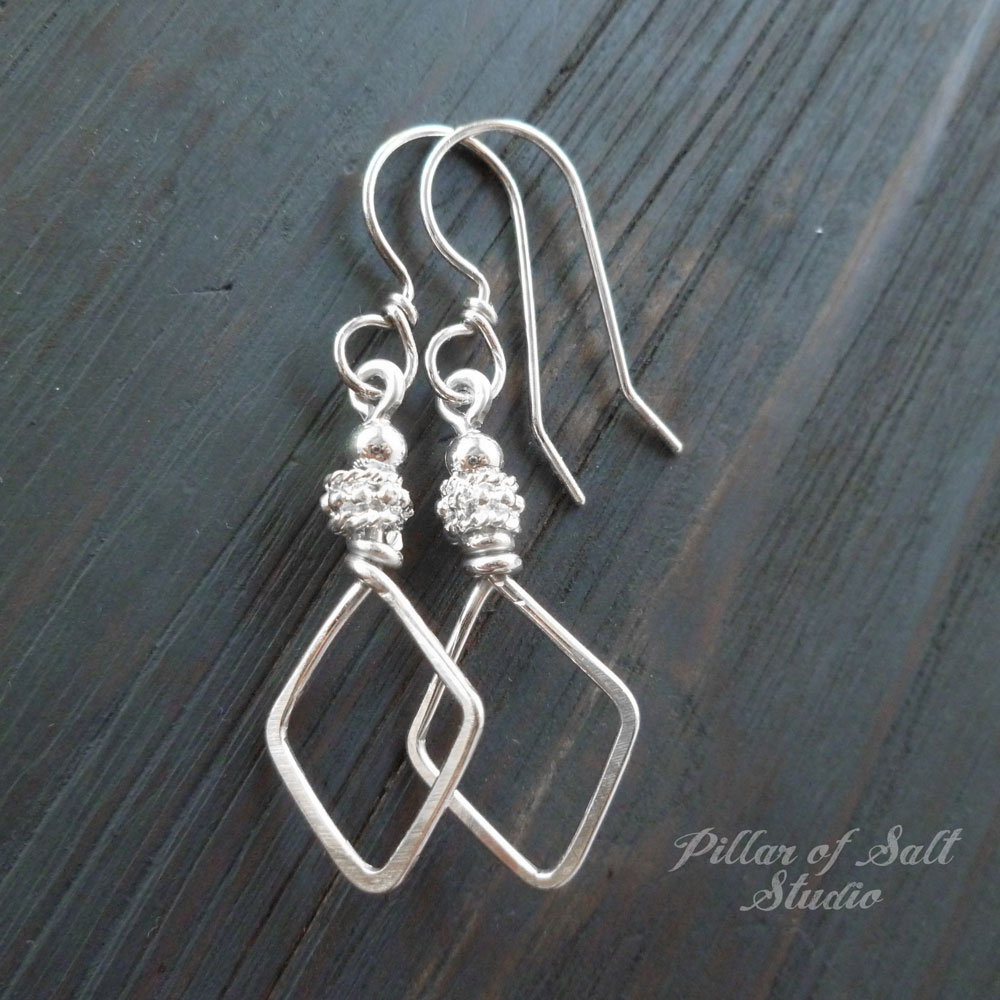 double silver sterling contemporary sliver unique handcrafted textured bold jewelry modern dangle product fl earrings