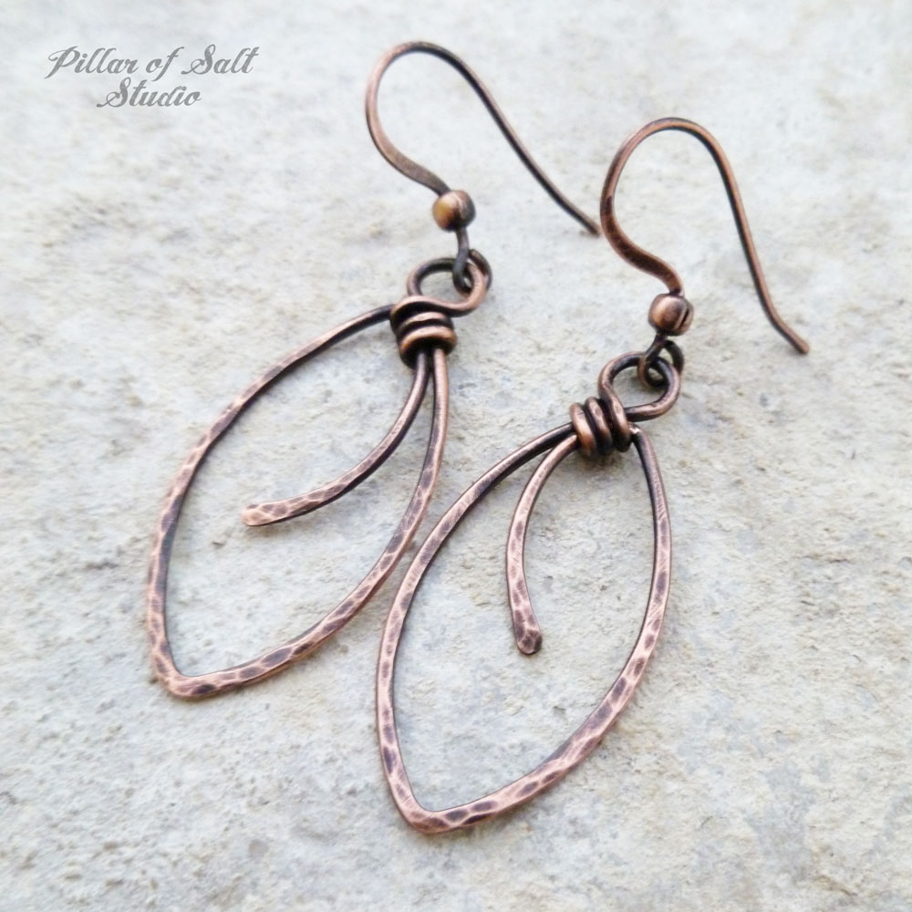 Marquis shape hammered Copper wire wrapped earrings - Pillar of Salt ...