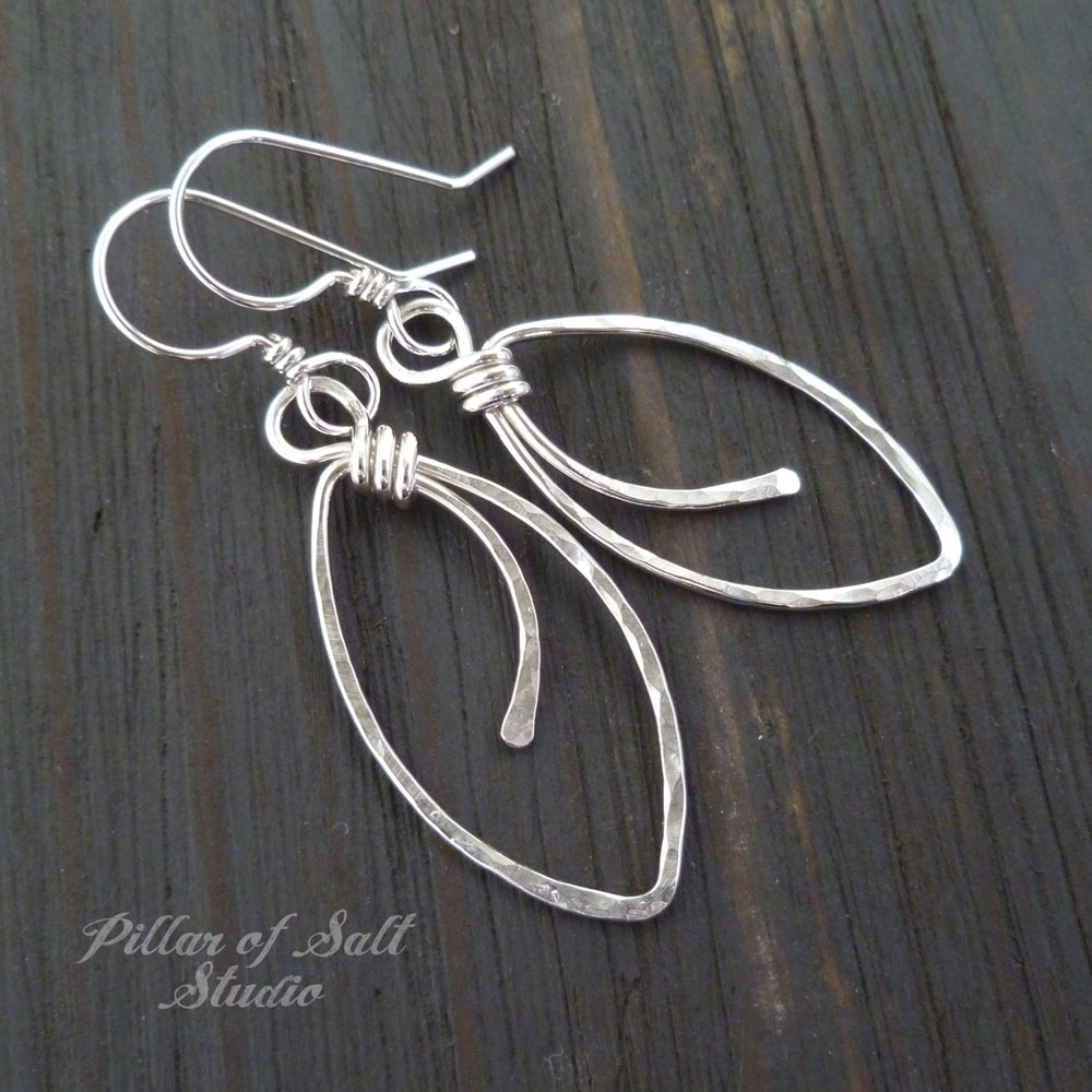 Hammered Marquis shaped Sterling Silver wire wrapped earrings ...