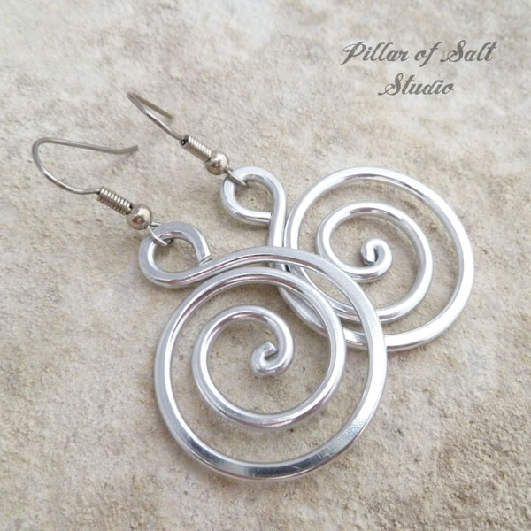 aluminum spiral earrings / Pillar of Salt Studio wire wrapped jewelry