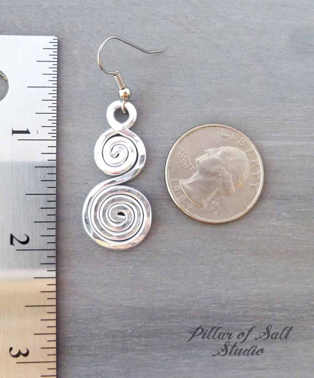 hammered aluminum double spiral earrings by Pillar of Salt Studio