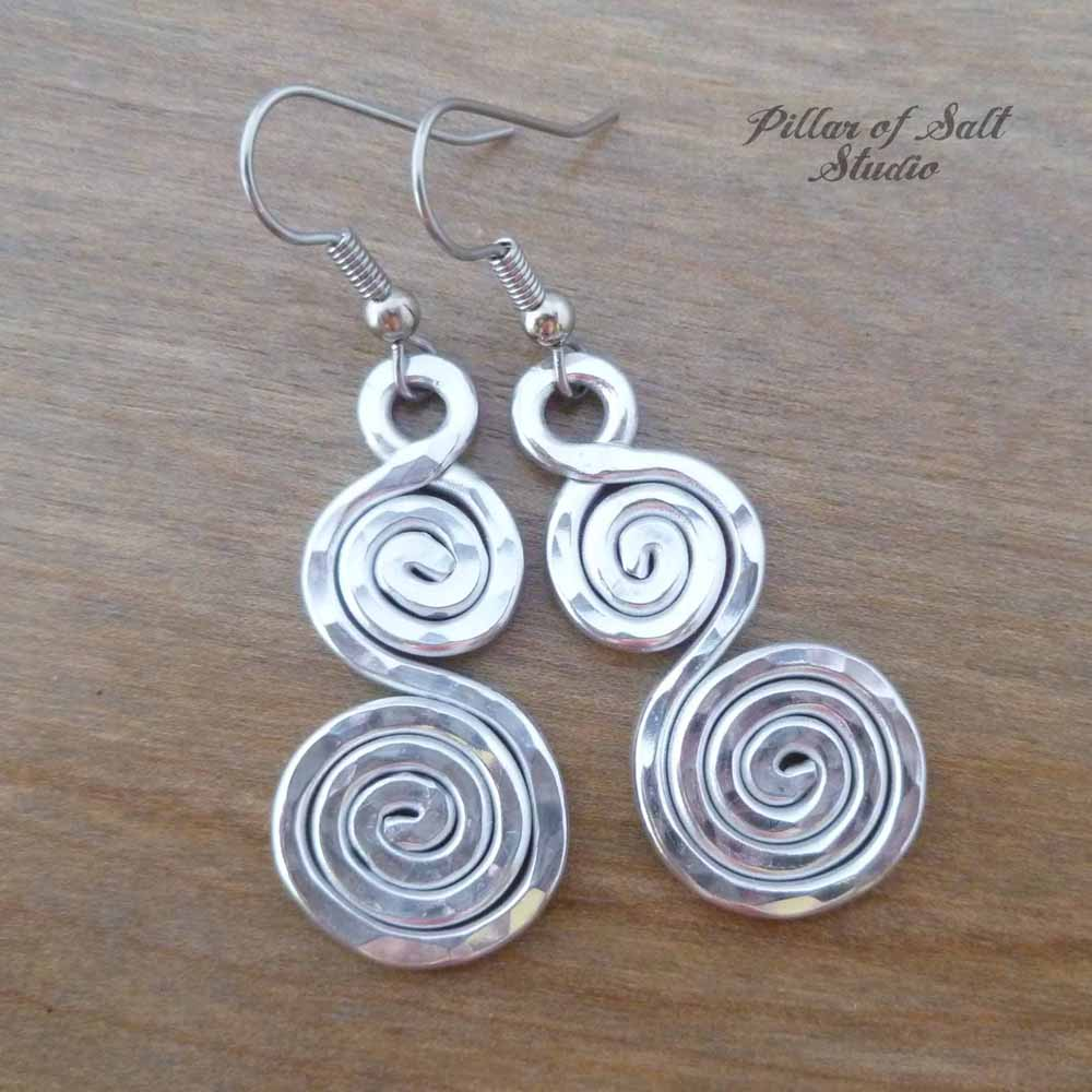 Hammered double spiral Aluminum earrings