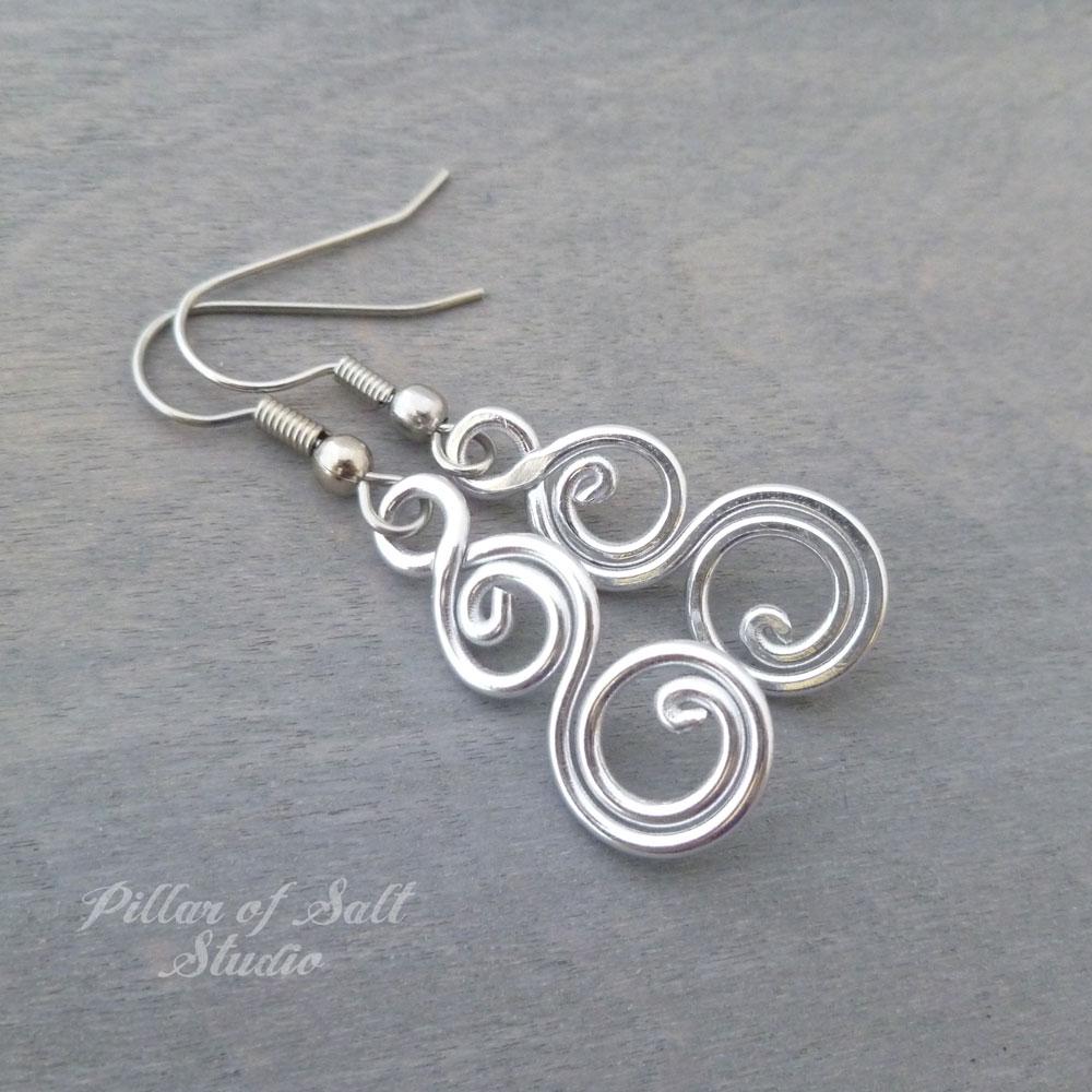 Aluminum earrings double spiral curlique - Pillar of Salt Studio, Inc.
