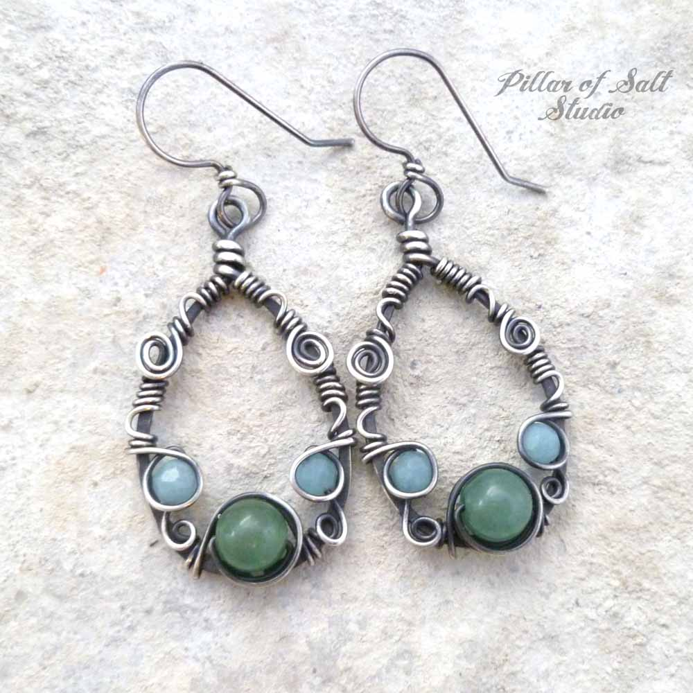 Sterling Silver Teardrop Wire wrapped earrings with Amazonite and Green Aventurine