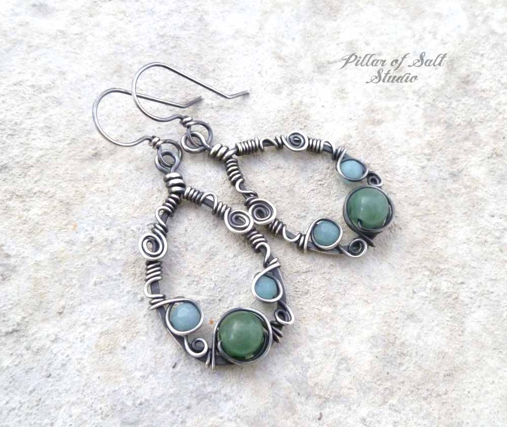 Sterling Silver Teardrop Wire wrapped earrings with Amazonite and ...