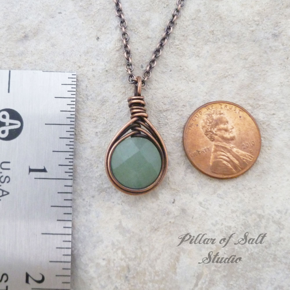 Green Aventurine herringbone wire wrapped pendant copper necklace ...