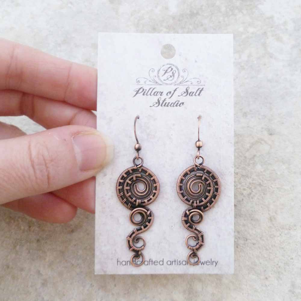 Dripping Spiral Copper wire wrapped earrings