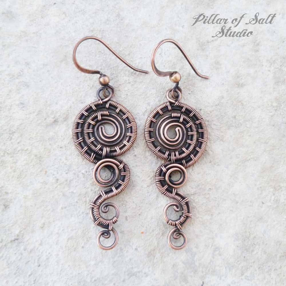 copper spiral wire wrapped earrings