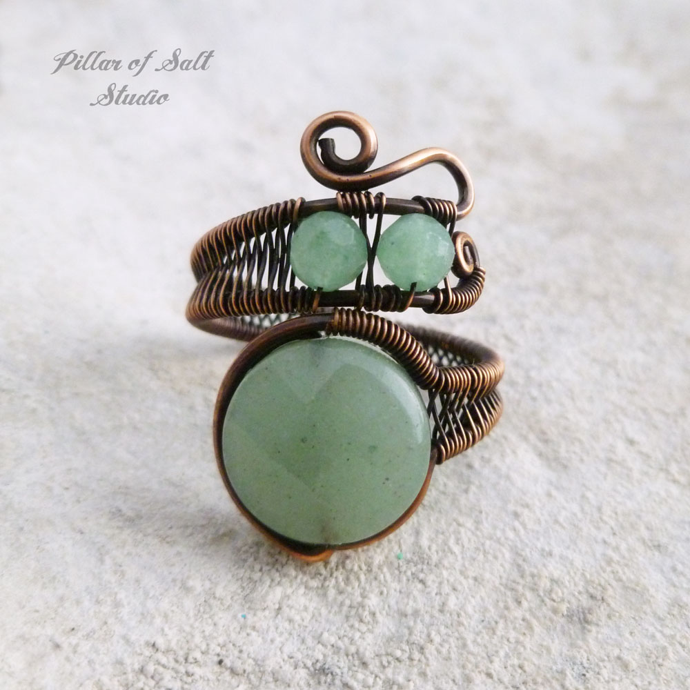 Green Aventurine adjustable wire wrapped ring - Pillar of Salt ...