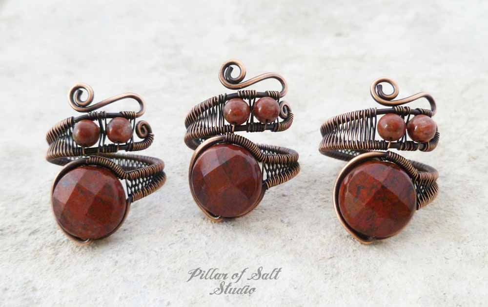 wire wrapped rings by Pillar of Salt Studio