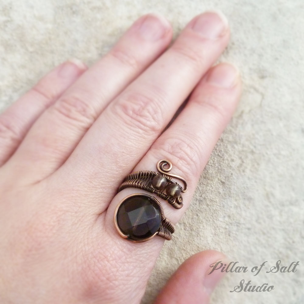 copper wire wrapped ring Pillar of Salt STudio