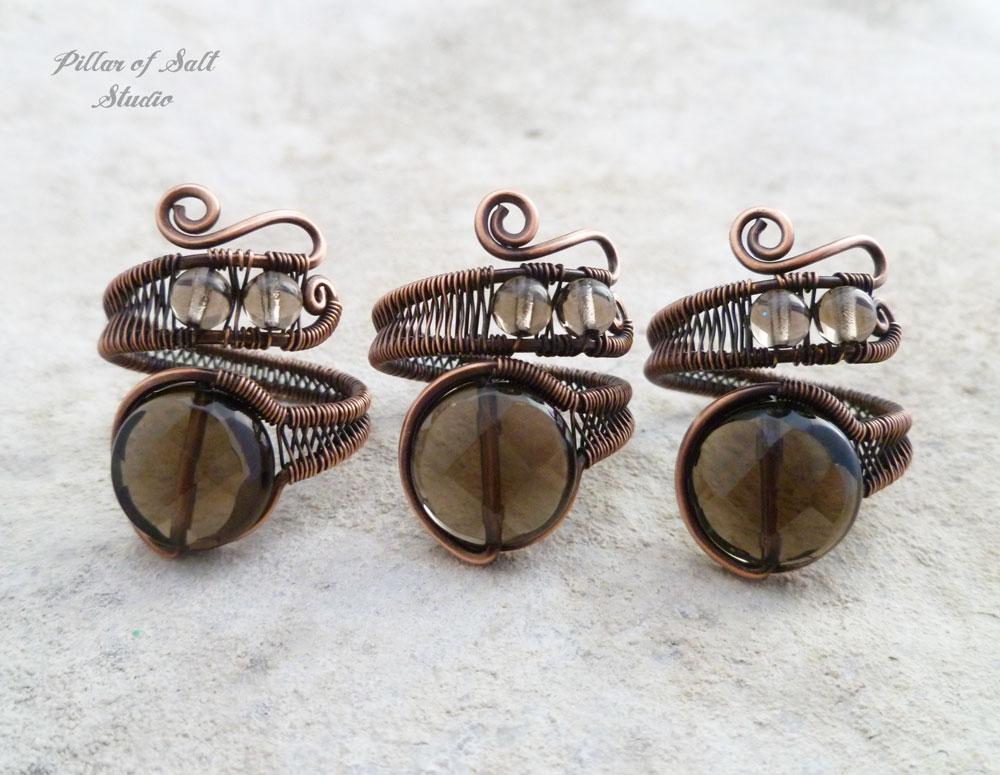wire wrapped Smoky Quartz rings by Pillar of Salt Studio