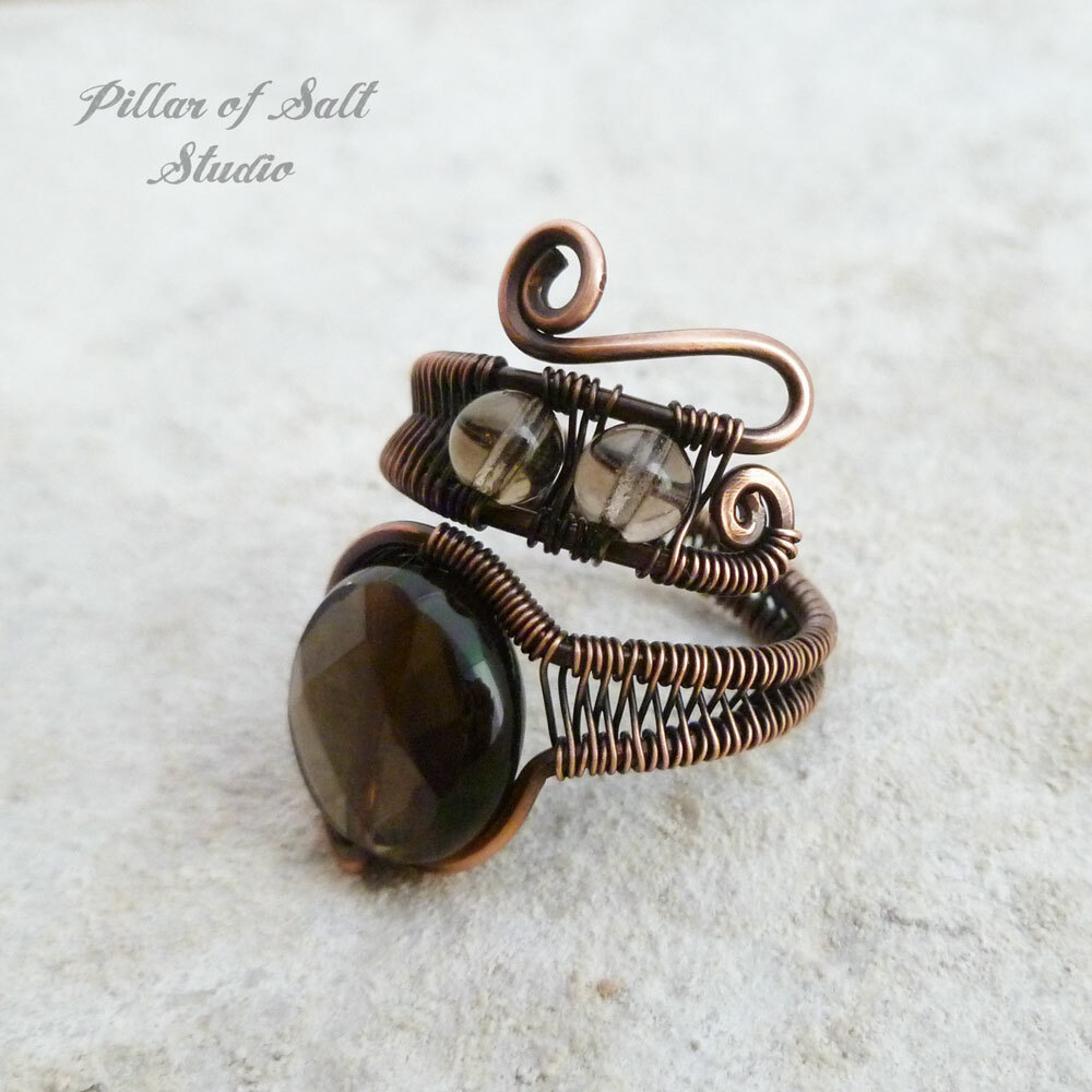 Smoky Quartz copper wire wrapped ring by Pillar of Salt Studio