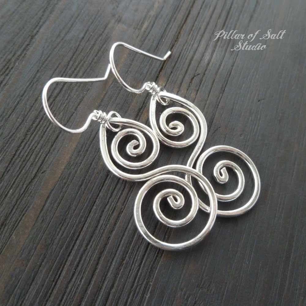 Sterling Silver Double Spiral Earrings - Pillar of Salt Studio, Inc.