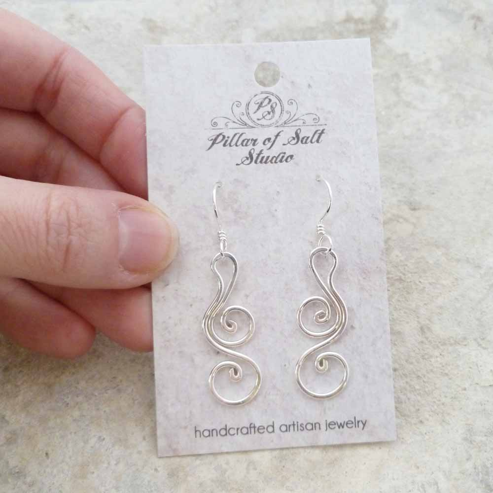 Sterling Silver Tendril Earrings - Pillar of Salt Studio, Inc.