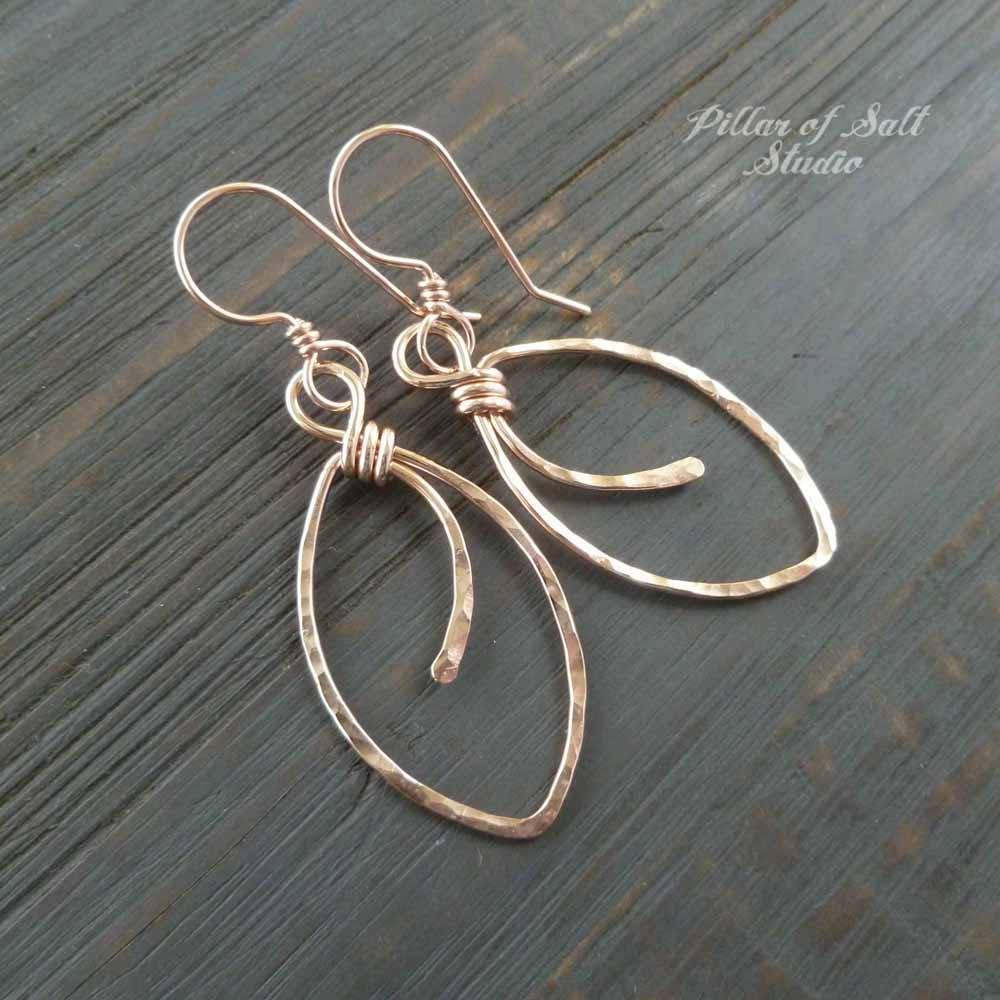 rose gold filled marquis earrings handcrafted jewelry by Pillar of Salt Studio