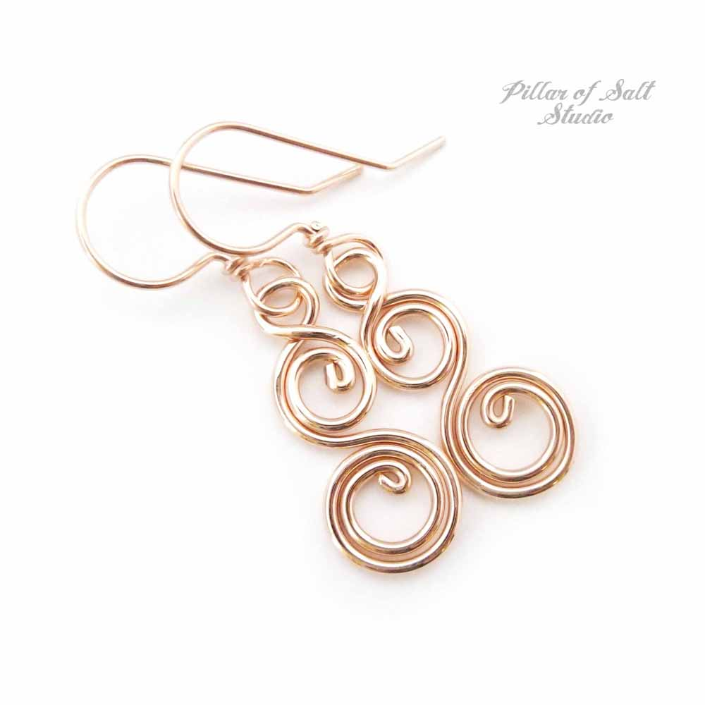 Rose Gold Filled Double Spiral Curlique Earrings - Pillar of Salt ...