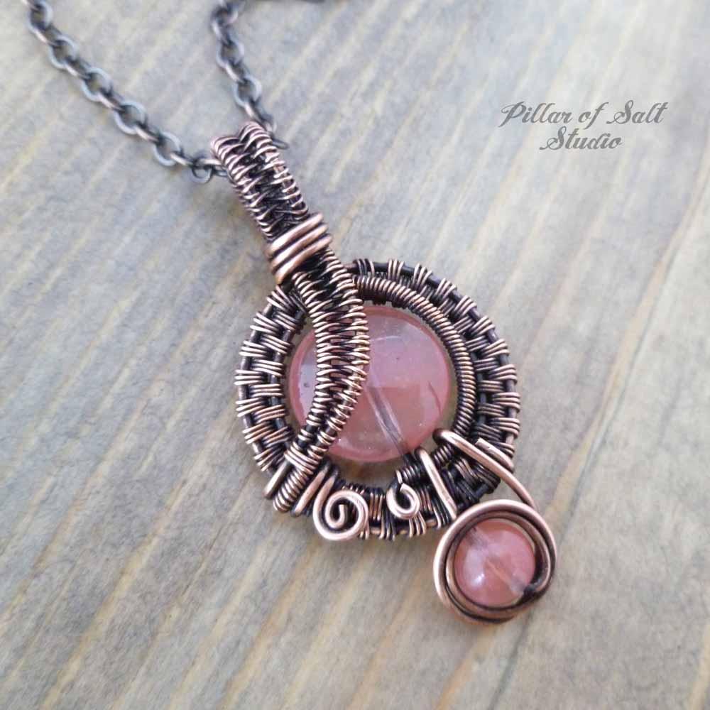 Cherry Quartz Glass Small Copper Woven Wire Wrapped Pendant Necklace ...