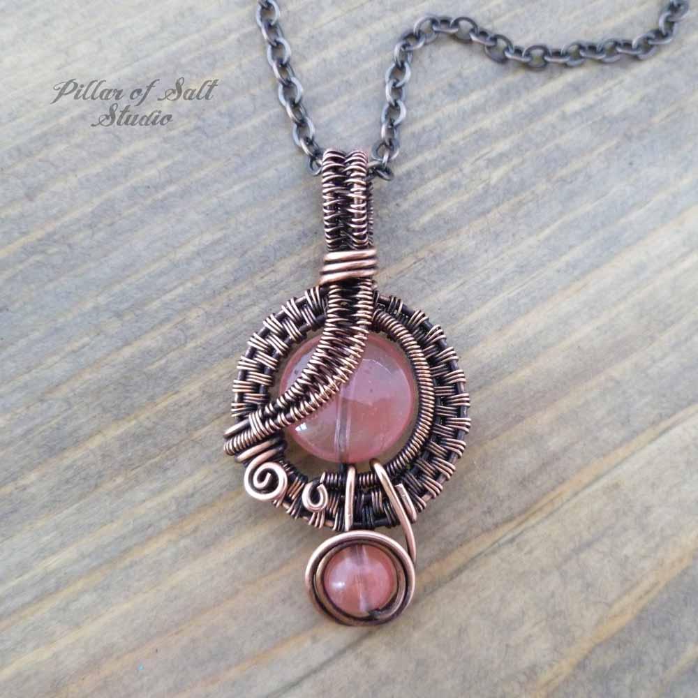 Cherry quartz glass small copper woven wire wrapped pendant necklace wire wrapped pendant pillar of salt studio aloadofball Gallery