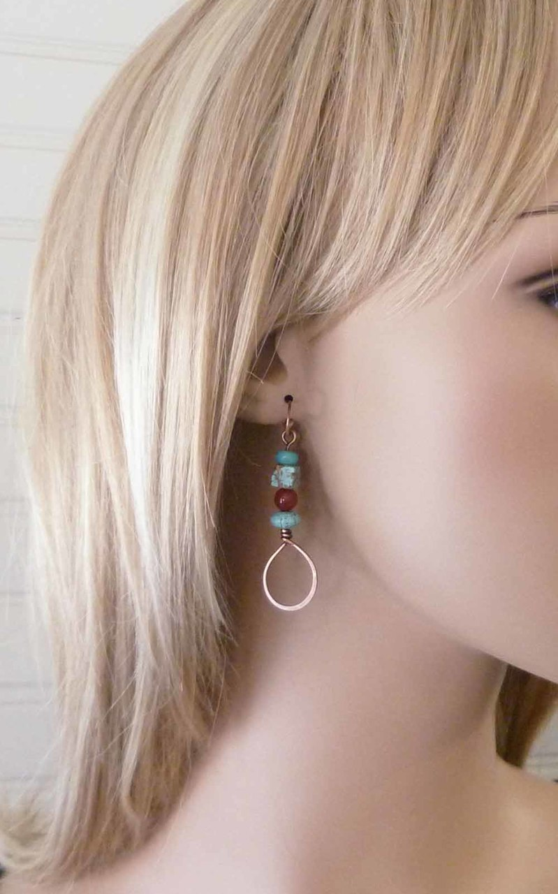 Stacked Teardrop Copper Earrings - Red and Turquoise