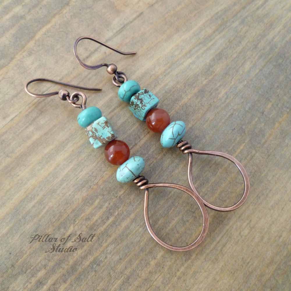 red & turquoise copper wire wrapped teardrop earrings by Pillar of Salt Studio