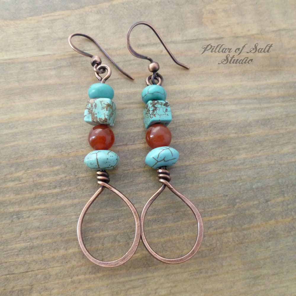 Stacked Teardrop Copper Earrings - Red and Turquoise - Pillar of ...