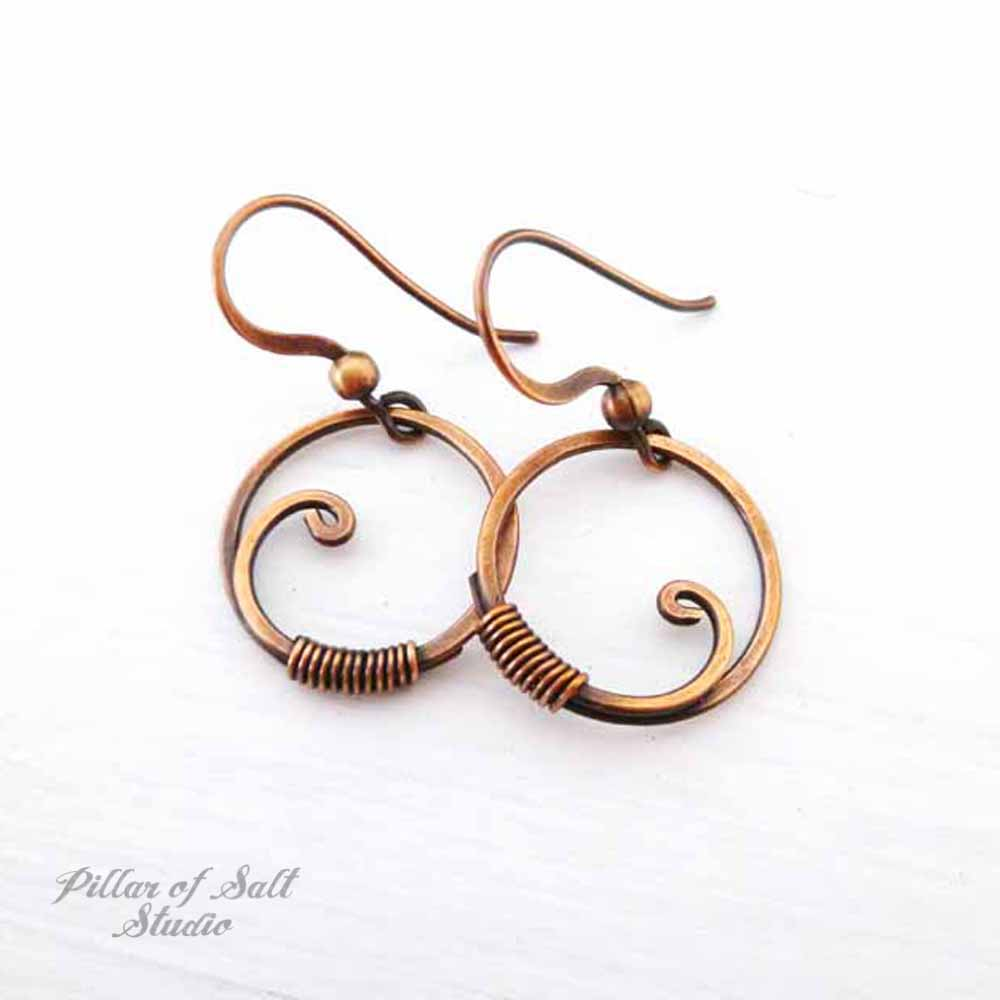 Small Copper Wrapped Circle Earrings