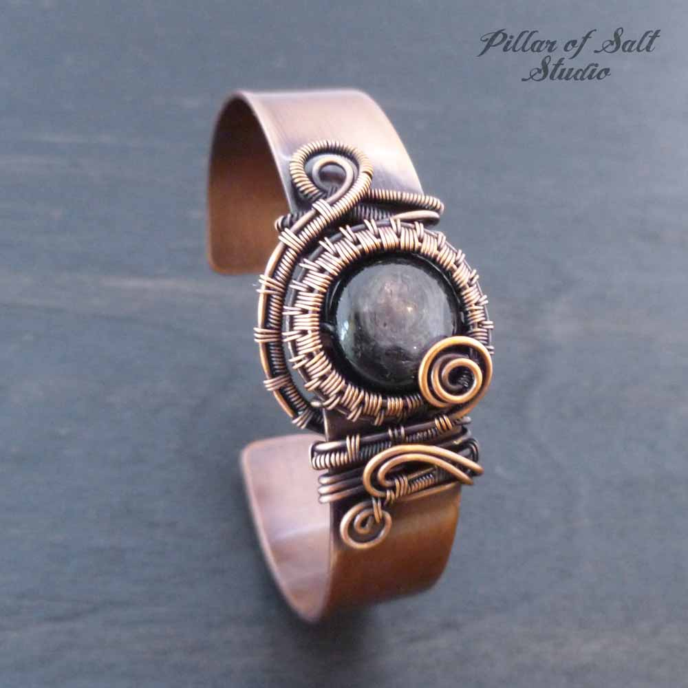Copper wire wrapped Cuff Bracelet with Hypersthene stone - Pillar of ...