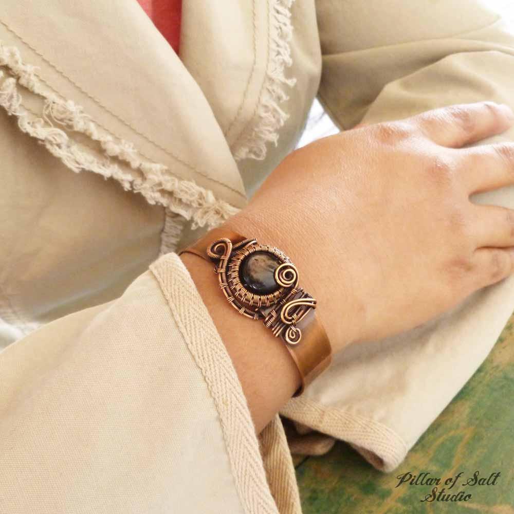 """Hypersthene copper wire wrapped 1/2"""" cuff bracelet by Pillar of Salt Studio"""