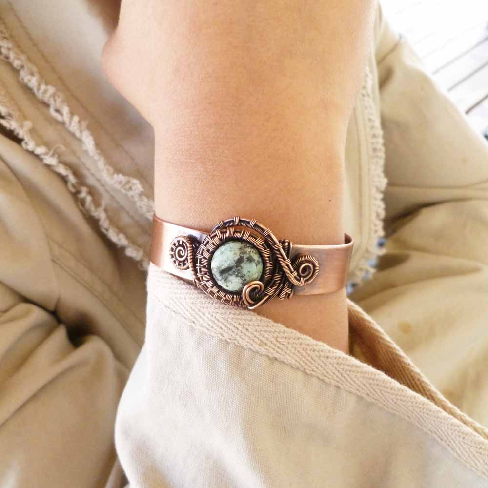 African Turquoise Jasper wire wrapped copper cuff bracelet by Pillar of Salt Studio