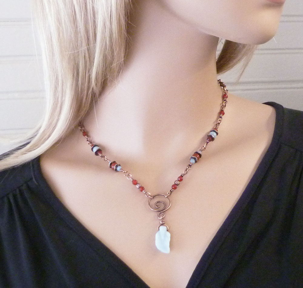 """Shown worn at 18"""" length. Amazonite and Carnelian copper wire wrapped necklace by Pillar of Salt Studio"""