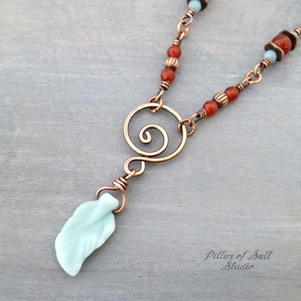 Carved Leaf focal copper wire wrapped necklace by Pillar of Salt Studio
