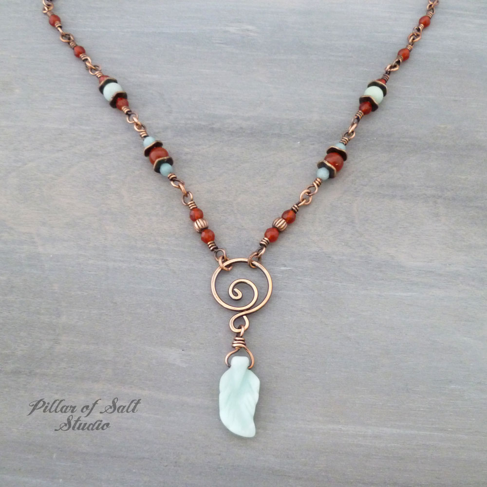 Amazonite and Carnelian copper wire wrapped necklace by Pillar of Salt Studio
