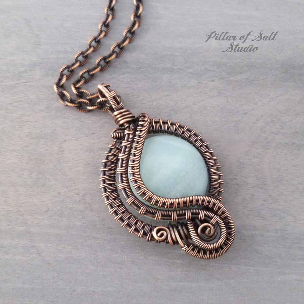 Amazonite wire wrapped pendant necklace pillar of salt studio inc amazonite woven copper wire wrapped pendant by pillar of salt studio aloadofball Gallery