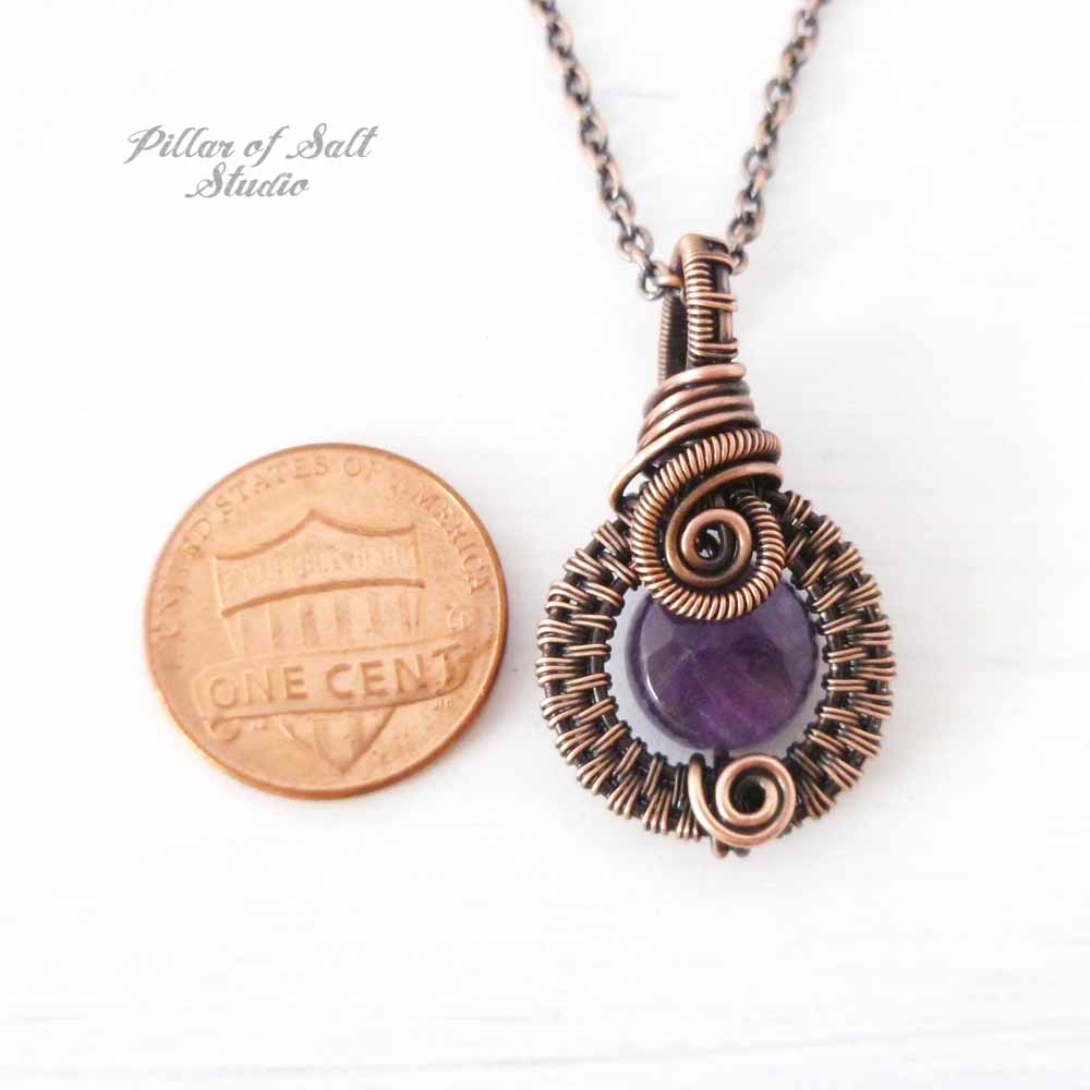 Small Amethyst Wire Wrapped Pendant Necklace