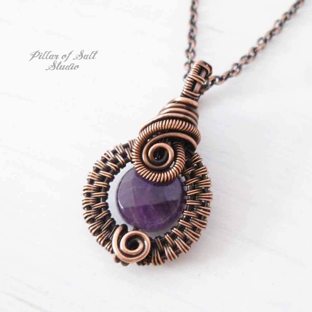 Small Amethyst wire wrapped pendant necklace - Pillar of Salt Studio ...