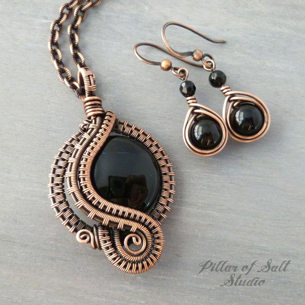 Black Onyx Wire Wrapped Jewelry Set - Pillar of Salt Studio, Inc.