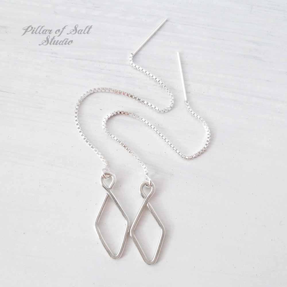 diamond-shaped sterling silver threader earrings by Pillar of Salt Studio
