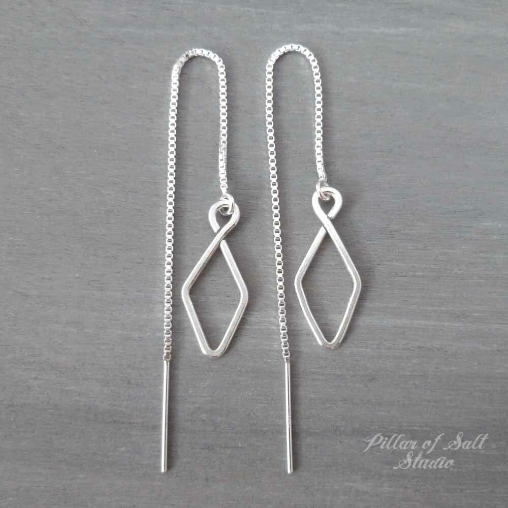 Small Diamond-shape Sterling Silver Threader Earrings