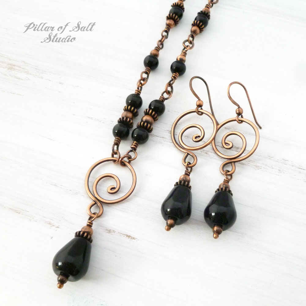 7th wedding anniversary gift idea for her - copper and black onyx jewelry
