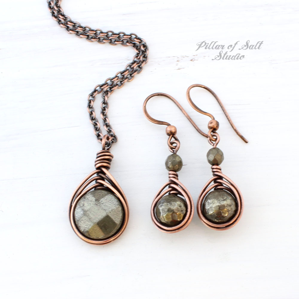 Pyrite necklace and earring Copper jewelry set
