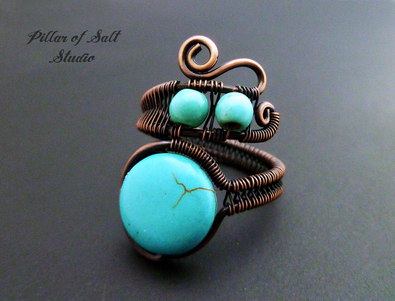 Turquoise Magnesite adjustable wire wrapped ring - Pillar of Salt ...