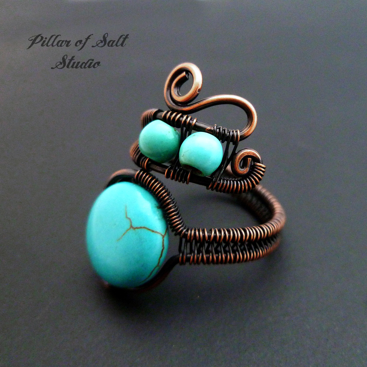 Copper and turquoise wire wrap ring / Pillar of Salt Studio
