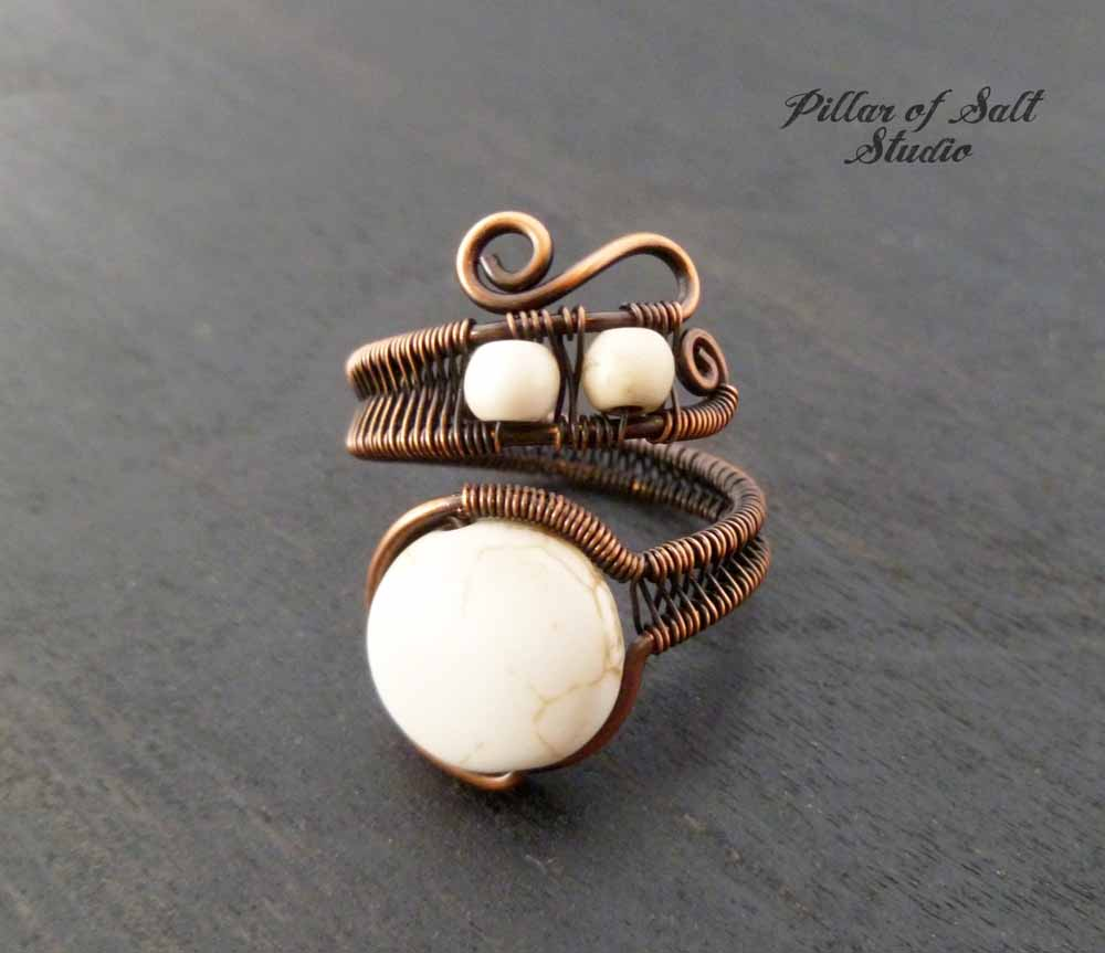 White Howlite adjustable copper wire wrapped ring - Pillar of Salt ...