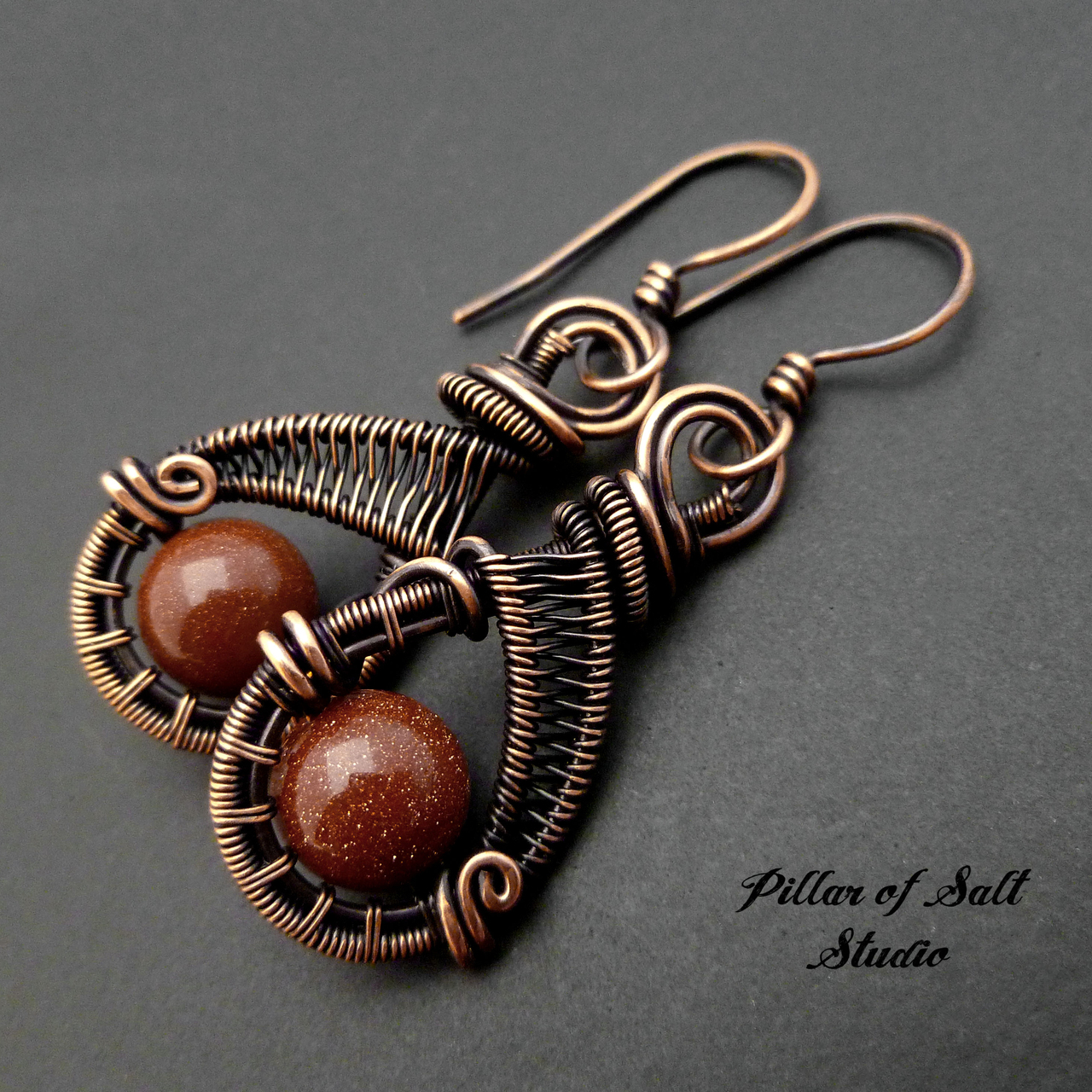 Brown Goldstone and copper woven wire earrings - Pillar of Salt ...