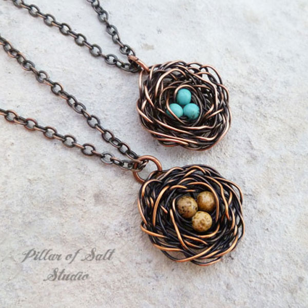 Bird\'s Nest Pendant with stone eggs Wire Wrapped copper necklace ...