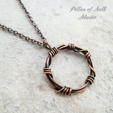 Quot Barbed Wire Quot Circle Pendant Wire Wrapped Copper Necklace
